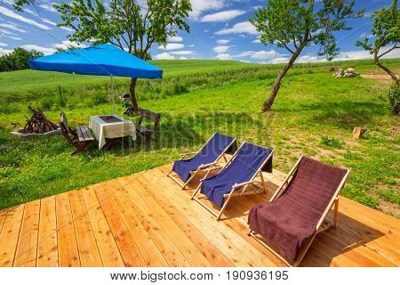 Deckchairs in the summer garden