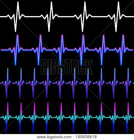 Set of heart beat pulse line vector illustration in white and neon colors on black background