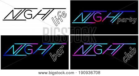 set of vector Illustration lettering of night black template and color text to poster flyer banner or card on dark background