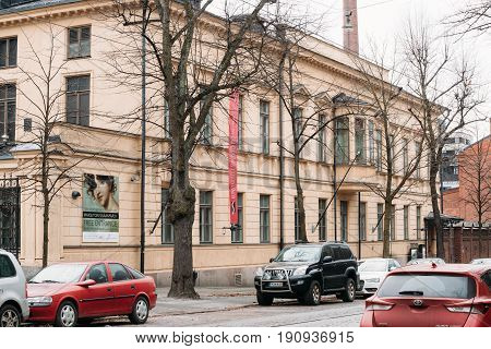 Helsinki, Finland - December 7, 2016: The Sinebrychoff Art Museum is an art museum located on Bulevardi. The museum exhibits the old European art collections of the Finnish National Gallery.