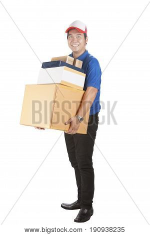 delivery man holding large number of carton box toothy smiling face isolated white background