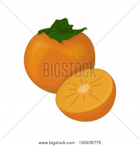Isolated persimmon fruit on white background. Sour and mouth puckering fruit.