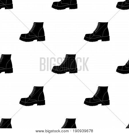Men brown shoes with thick soles. Shoes for nonconformists.Different shoes single icon in black pattern vector symbol stock web illustration.