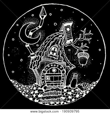 fairy tale cottage painted pen in the circle