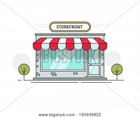 Store or shop front view vector illustration, cartoon line outline storefront on street isolated on white background