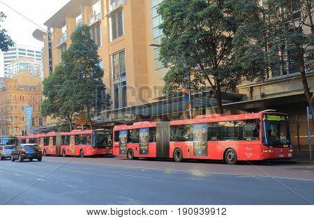 SYDNEY AUSTRALIA - JUNE 1, 2017: Sydney city buses picks up passengers in downtown Sydney.