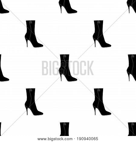Demi tall womens boots high heel.Different shoes single icon in black pattern vector symbol stock web illustration.