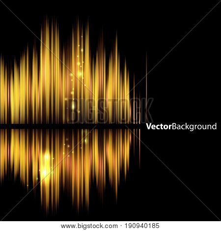 Abstract background - shiny sound waveform. Vector illustration.