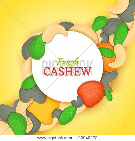 Round white frame on cashew nut diagonal composition background. Vector card illustration. Cashewnut frame, filbert fruit in the shell, whole, shelled, leaves for packaging design of healthy food, menu
