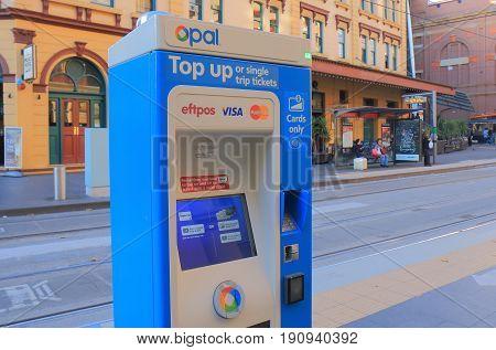 SYDNEY AUSTRALIA - JUNE 1, 2017: Train ticket vending machine.