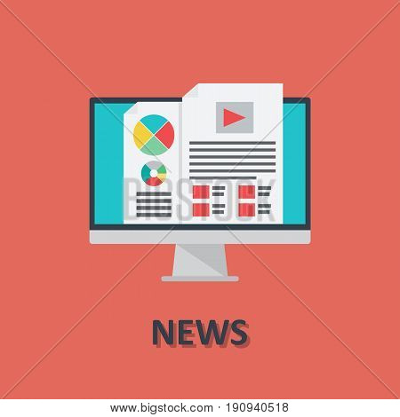 Computer online news icon in flat style. Vector icon design