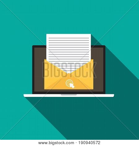 Email Marketing concept flat style icon with long shadow. Vector illustration