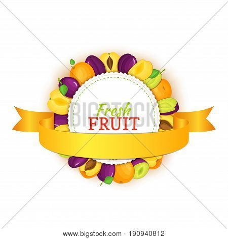 Round colored frame composed of delicious apricot plum fruit and gold ribbon. Vector card illustration. Circle apricots plums frame. Ripe fresh fruits for packaging design of juice, breakfast food.