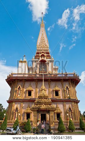 PHUKET THAILAND SEPTEMBER 26: Pagoda in wat chalong or chalong temple is the most famous temple in Phuket Thailand on September 26 2016.