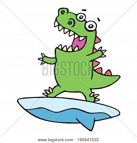 Cute dragon surfer on surfboard caught a wave. Vector illustration. Cheerful imaginary animal character.
