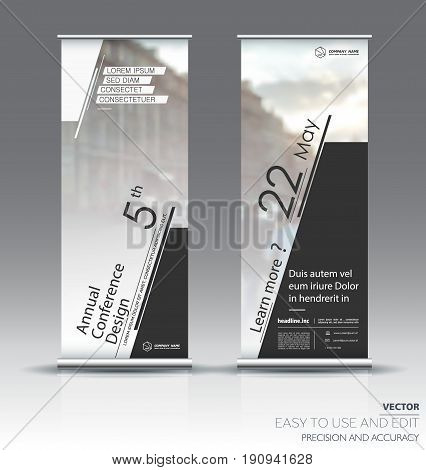 White with black roll up banner design brochure flyer vertical template, vector x-banner and street business flag-banner, cover presentation abstract geometric background vertical layout