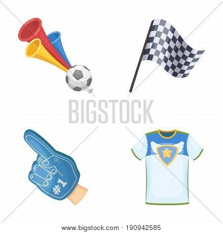 Pipe, uniform and other attributes of the fans.Fans set collection icons in cartoon style vector symbol stock illustration .