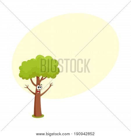 Funny comic style tree character raising branchies as hands, cartoon vector illustration with space for text. Funny, crazy tree character, mascot with smiling human face, greeting gesture