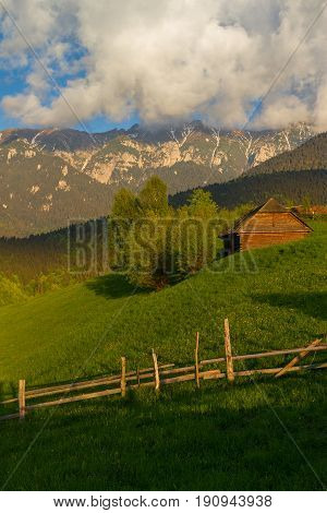 Carpathians Mountain Village With A Old Wooden Houses