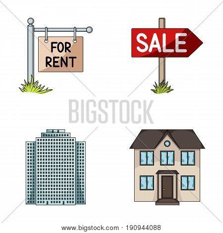 Signs of sale and rent, a skyscraper, a two-story cottage.Realtor set collection icons in cartoon style vector symbol stock illustration .