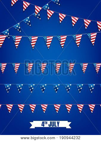 Fourth of July buntings. Decoration set of garlands for USA national holidays, events, banners, posters, web. 4th of July vector illustration