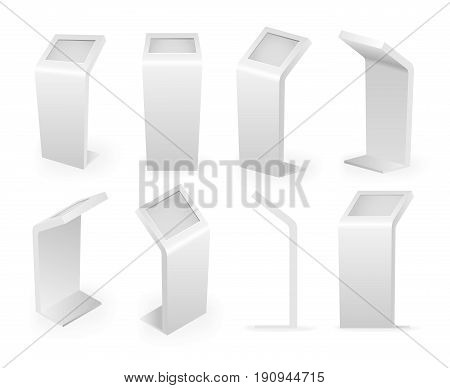 Payment kiosks terminal isolated icons isometric set digital interactive touch screen realistic 3d design vector illustration