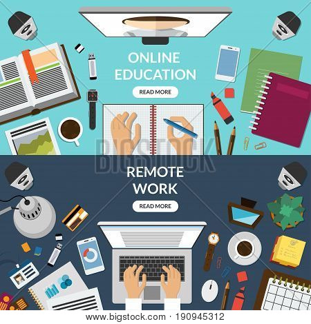Online education, distant learning, freelance, remote work concept. Top view at a desktop. Vector illustration. Flat design