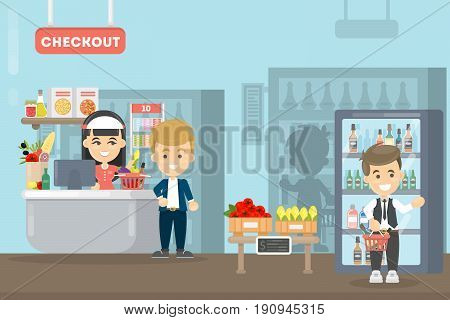 People at supermarket. Checkout with sale person.