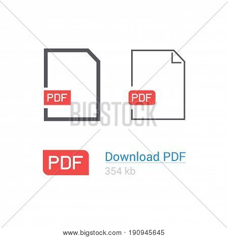 PDF file download icon set. Document symbol. Flat style. Line design