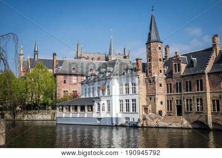 Picturesque Canals of Bruges (Brugge) in Belgium