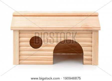 Front view of pet wooden house isolated on white