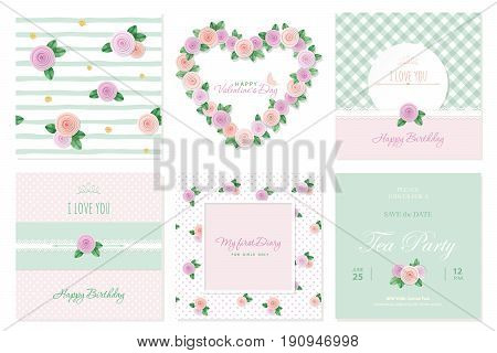 Floral card templates set. Birthday valentines wedding baby shower notebook cover. Patterns and frames vector