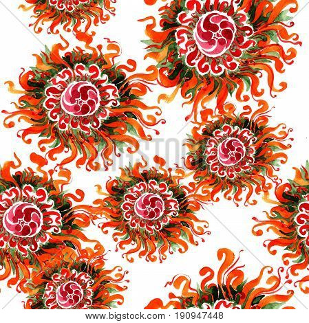 Wildflower chrysanthemum flower pattern in a watercolor style isolated. Full name of the plant: Chinese chrysanthemum. Aquarelle wild flower for background, texture, wrapper pattern, frame or border.