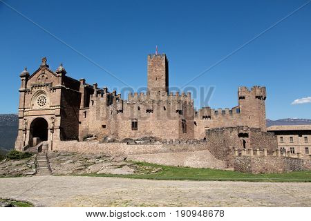 Ancient spanish castle Javier, Navarre, Spain. Cultural and historical spanish heritage, architectural sight.