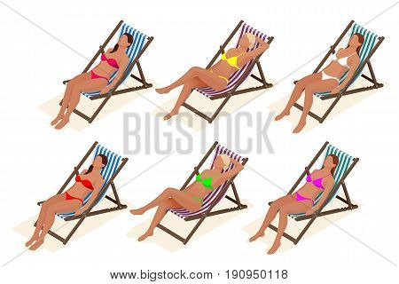 Beautiful young slim woman sunbathe on the beach on a sunbed near the sea, beach, summer vacation, sexy girl Isometric people vector illustration