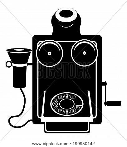 phone old retro vintage icon stock vector illustration black outline silhouette isolated on white background