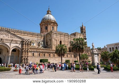 PALERMO, ITALY - JUNE 3, 2017: Palermo Cathedral is the cathedral church of the Roman Catholic Archdiocese of Palermo, Sicily, Italy.