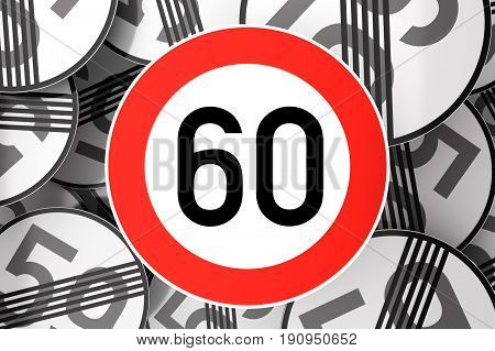 Reaching The 60Th Birthday Illustrated With Traffic Signs