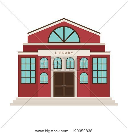 Red library cartoon building icon for city design. Vector illustration