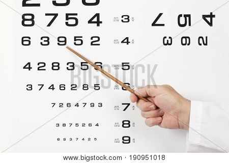 Doctor optometrist ophthalmologist pointing out a number in a chart during performing an eye test in the consulting room.