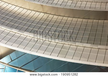 Abstract gray architectural background, steel wall as background in a modern building