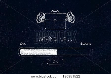 Bag Of Cash And Progress Bar Loading, Saving Process