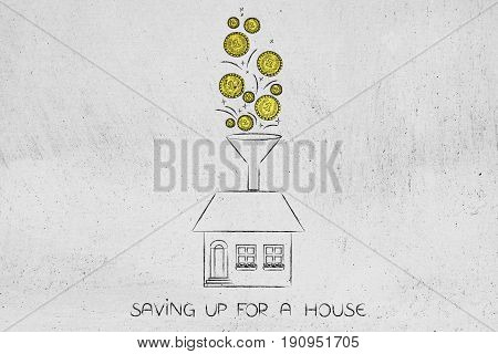 Golden Coins Dropping Into Funnel Above A House