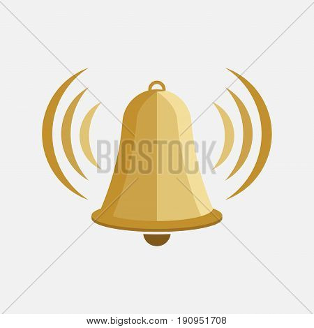 icon bell bell tower warning sign flat design information vector image