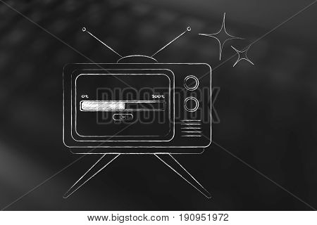 retro style television with progress bar loading on screen concept of leisure time and fun
