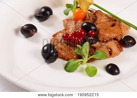 Turkey Fillet Stewed In A Sauce With Grapes