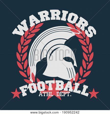 t-shirt football emblem with laurel wreath t-shirt sports Spartan Warrior gladiator icon. Vector