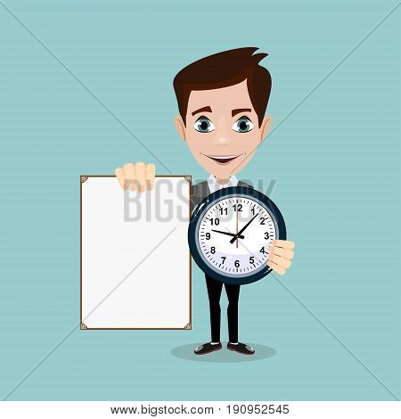 Man holding a poster and a clock. Stock vector illustration for poster, greeting card, website, ad, business presentation, advertisement design.
