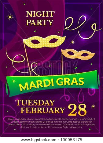 Mardi Gras party poster vector illustration with carnival masks