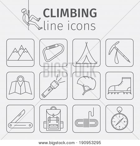 Rock-climbing equipment, climbing, rock climbing, mountaineering, travel, hiking sports equipment Thin line icon set Vector illustration